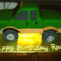 F350 Ford Truck Choc. Cake with buttercream covered in fondant with fondant accents