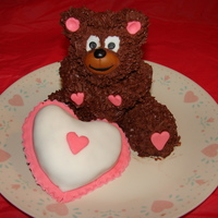 My Valentine Teddy vanilla pound cake teddy frosted with BCganache, heart cake is chocolate covered with fonadant....