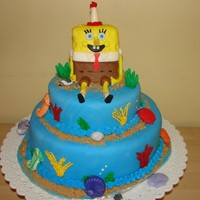 Sponge Bob sponge bob was cake covered with fondant, and for the rest,, was cake covered with fondant. first time covering a whole cake with fondant...