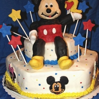 Mickey Mouse Mickey is made out of Pound cake mix his arms and legs are RKT covered in fondant.stars and the number 2 are fondant. .. Bottom 2 tier is...