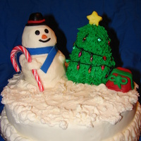 Snowman snowman and tree where made out of vanilla pound cake covered with BCF.the star and face,hat,and gift are fondant.. The lights on the tree...