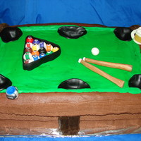 Pool Table chocolate cake covered with BCF , the rack,pool sticks ,cue and beer mug where made out of fondant.not to happy with it but i guess its not...