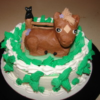 Horse Cake The Horse i made ..It was cake covered in BC frosting the head of the horse was RKT.The bottom of the cake was an ice cream cake bought...