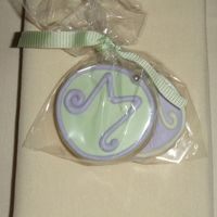 Monogram Lilac & Green Wedding Favor Cookie