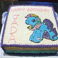 "My Little Pony Chocolate Fudge Cake with My Little Pony ""Rainbow Brite"" FBCT made for my niece."