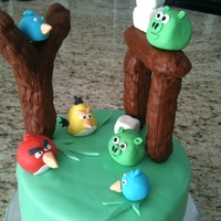 Angry Birds Birthday Cake So much fun to make this one! Thanks for all the inspiration from CCers. Slingshot and logs made from RKT covered in modelling chocolate,...