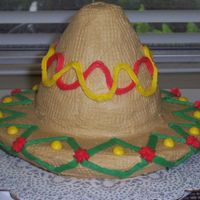 Cinco De Mayo Cake I did for my sister's class. Just buttercream on chocolate andwhite cake. I was so proud of myself, until a section of the brim...