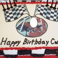 Birthday Cake For Race Car Driver Birthday cake I made for my son's 8th birthday. He races quarter midgets. Picture of him in his race car is an icing image purchased...