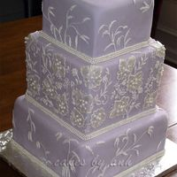 Brush Embroidery Cake  This design was inspired by the embroidery on the bride's dress. Edible triple pearl strings border to match her dress as well. I had...