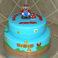 Super Mario Brothers Cake This cake was covered in fondant with fondant accents. I also made Mario out of fondant. Thanks for looking.