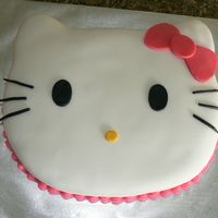 Hello Kitty I cut the shape out by hand and covered with fondant. Facial features are also fondant.