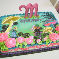 "Alice In Wonderland Movie All buttercream, except fondant ""M"""