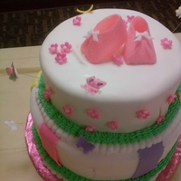 "Baby Shower Cake With Fondant Icing 10"" x 8"" decorated with fondant and gumpaste butterflies"