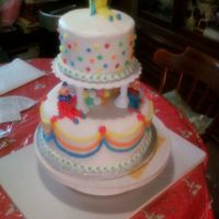 Happy 1St Birthday Twins Two tier Yellow cake with butter cream icing; decorated with clowns
