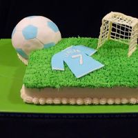 "Soccer Score! Soccer ball cake covered in Fondant, Grass ""field"", Fondant jersey & candy net."