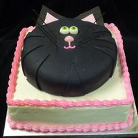 Black Cat Cake Black fondant cat on white buttercream - for a little girl's 5th birthday
