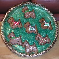 Christmas Scotties   Martha Stewart gingerbread with RI and edible glitter. Made for a Scottie & Westie Rescue League Holiday party.