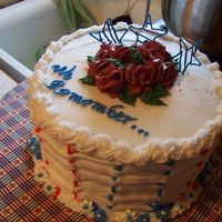 Memorial Day Cake checkerboard inside, basketweave outside. Royal roses and stars-unfortunatly stars didnt' make it to party-they crumbled