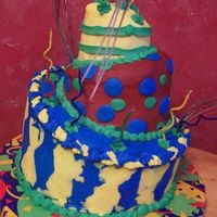 My First Whimisical Cake All buttercream. I had hoped to do in fondant and I think the design would have worked better that way, but oh well. Live and learn.
