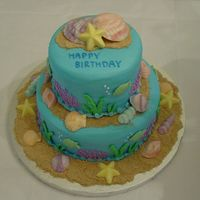 Birthday Beach Cake  This is my attempt at copying one of sugarshack's cakes, but in buttercream. Cake is decorated with buttercream icing, chocolate...