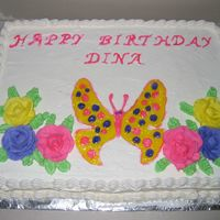 Butterfly With Roses Buttercream icing, with colored butterfly piping gel.