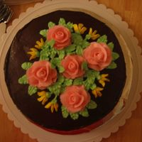 Roses Chocolate icing with buttercream roses