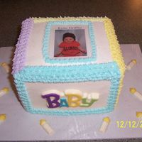 Baby Block Cake W/chocolates Simple little block cake with laminated baby pic. All bc except chocolate candies.