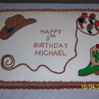 Cowboy Western Birthday Cake A little cowboy was turning 5 and I came up with this. He loved it. All bc icing except for the boot candles.