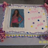 Hannah Montanna Birthday Cake This is just another view with Miley's picture showing.
