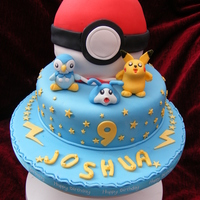 Pokemon Cake Birthday Cake made for my little boy who is Pokemon mad. It was VERY challenging. The ball is made from two pudding bowl madeira cakes and...