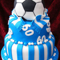 Football Themed 60Th Birthday Cake Biggest and most challenging cake I have ever made. Three layers of madeira cake with jam and buttercream filling. Covered in sugarpaste....