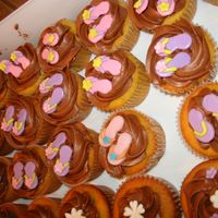 Flip Flop Cupcakes a sea of flip flops!Made these for my sister's co-worker- yellow cc with chocolate chip cookie dough and chocolate BC