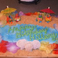 Hawaiian This was made for my nieces 13th birthday. The sand is made of crushed vanilla wafers. I have margarita umbrellas and toy parrots on top of...