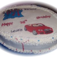 Twin_Cake.jpg Small cake done for a set of twins who share their birthday with an older sister(the 30 cake in my photos). HE loves cars and she loves...
