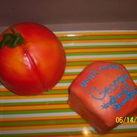 Geargia Peach Yellow cake w/choc. BC covered in fondant. Client ordered for wife's birthday/relocation party. Peach needed to be carved @ base, but...