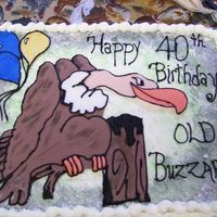 Old Buzzard Basic yellow cake with BC, Buzzard and tree are Fondant