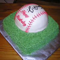 Baseball Bomb Cake Fondant covered yellow cake, with cheesecake mousse filling and a Cal Ripkin Jr autograph.
