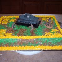 Camo Army Cake   9x13 Camo cake with army men accents