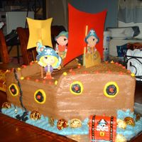 Pirate Ship Cake   Carved chocolate priate ship