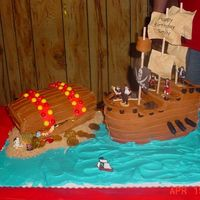 Pirate Ship And Treasure Chest I made this for my sisters birthday. She originally just wanted a big treasure chest but I wanted to try and make a pirate ship, so she got...