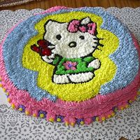 Hello Kitty This was decorated for the neighbors daughter for her birthday. All decorated in butter cream except the bird was red piping gel.