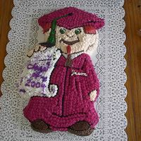 Graduation High School 2004 Graduation cake 2004 High School all butter cream. Eyes and tassel are green gel.