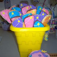 Flip Flop Cookies I made these cookies to go along with a flip flop cake. They are in a sand bucket. NF choc and plain with royal icing.