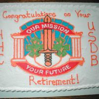 Hhc Usdb Military Police Crest This is a cake I did for a retirement. It turned out excellent. White and strawberry swirl cake with bc frosting.