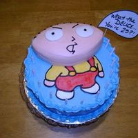 "Stewie2 Just another pic of the cake with the ""bubble"" and candles."