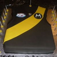 Aussie Rules Football Australian AFL foot ball jumper, the team colors are richmond. for a guys 21st birthday