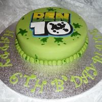 Ben 10 ben 10 cake for a six year old boy, all he wanted was a green cake with something to do with ben 10. Plaque is made with gumpaste and the...