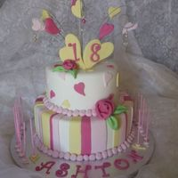 Ashton's 18Th Birthday 18th birthday cake for a girl who wanted PINK AND YELLOW WITH HEARTS. thanks for looking