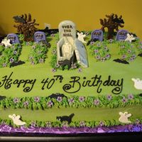 Over The Hill Chocolate Coffin, Trees and Tombstones.Fondant Flowers, Bats, Cats and Ghost