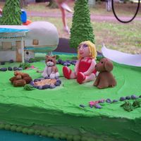Lydia's Camp Cake is chocolate with BC. Fondant covered rice crispy treats for camper, fondant cake, dog, Lydia, rocks, dog doo. Gumpaste signs and...